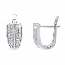 Серебряные серьги дорожки с цирконием Римма