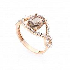 Золотое кольцо Аурика с раухтопазом и фианитами