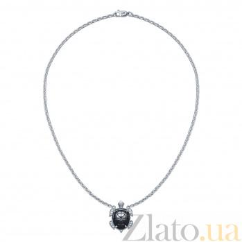 Серебряное колье Тортилла с фианитами 000046080