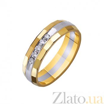 Золотое обручальное кольцо Театр с насечкой и фианитами в комбинированном цвете TRF--452716