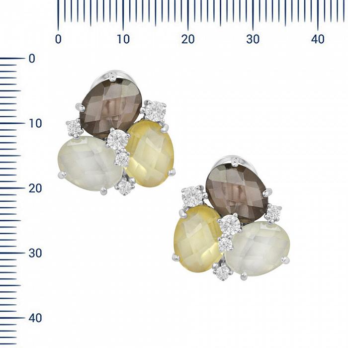 Серебряные серьги Пруденс с раухтопазом, кварцем, цитрином и фианитами 000081782
