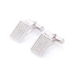 Серебряные запонки Дионис с фианитами и родием