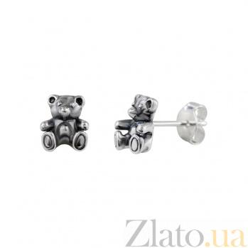 Серебряные серьги-пуссеты Мишутка 000029358