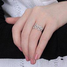 Серебряное кольцо Love с цирконием в стиле Тиффани