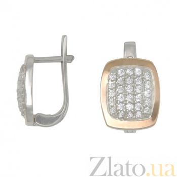 Серебряные серьги с золотой вставкой и фианитами Эталон BGS--391с
