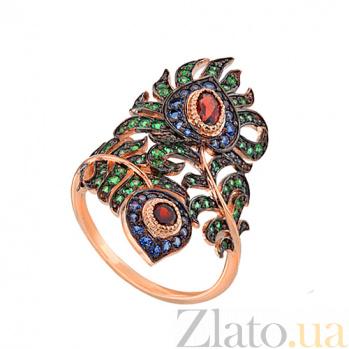 Кольцо Павлинье перо в красном золоте с разноцветными фианитами VLT--ТТ1315-2-4