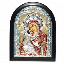 Икона на деревянной основе Богородица Владимирская с позолотой и цветной эмалью, 12х17