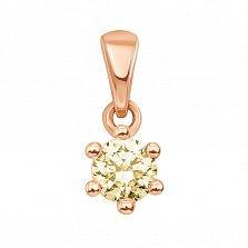 Кулон из красного золота с шампаневым кристаллом Swarovski 000129464