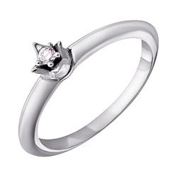 Серебряное кольцо с бриллиантом 000072367