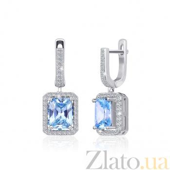 Серьги-подвески из серебра Иветта с голубыми и белыми фианитами SLX--СК2ФТ/430