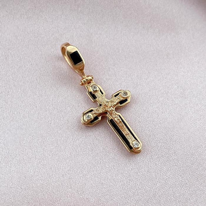 Золотой крестик в комбинированном цвете с эмалью 000046446 000046446