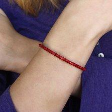 Красный кожаный браслет Тирон с серебряным замком, 4мм