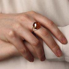 Серебряное кольцо Brightness с янтарем и золотой накладкой