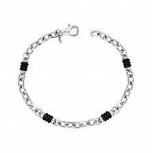 Серебряный браслет Идальго со вставками из черного каучука