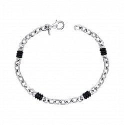 Серебряный браслет со вставками из черного каучука 000125496