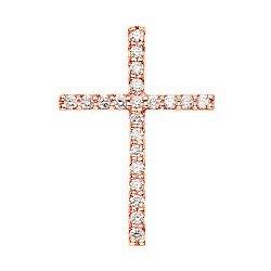 Декоративный крестик из красного золота с бриллиантами 000124831