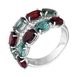 Серебряное кольцо с гранатом, зеленым кварцем и цирконием 000061469