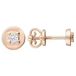 Золотые серьги-пуссеты Хилари с бриллиантами 000066092