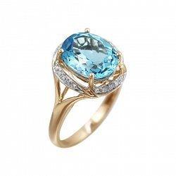 Золотое кольцо с бриллиантами и голубым топазом 000080895