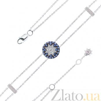 Браслет из белого золота Счастливая звезда с лейкосапфиром, сапфирами и бриллиантами 000082063