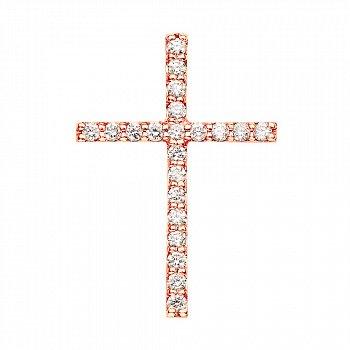 Декоративний хрестик з червоного золота з діамантами 000124831