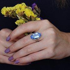 Серебряное кольцо Олимпия с кварцем цвета танзанит и фианитами