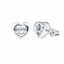 Серебряные серьги-пуссеты Сердце малое с танцующими белыми фианитами, 7x7мм