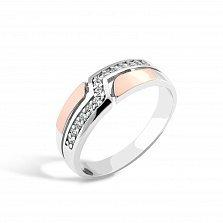Серебряное кольцо Джумана с золотой накладкой, фианитами и родием