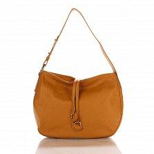 Кожаная сумка на каждый день Genuine Leather 8934 коньячного цвета с декоративными подвесками