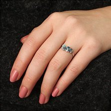 Серебряное кольцо Шейла с кварцем под голубой и лондон топазы и цирконием
