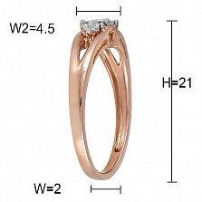 Кольцо Катерина з красного золота с бриллиантами