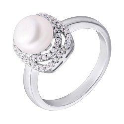 Серебряное кольцо с жемчугом и фианитами 000132601