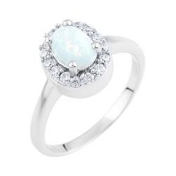 Серебряное кольцо с белым опалом и фианитами 000074159
