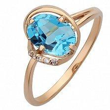 Золотое кольцо Агнет с топазом Лондон и фианитами