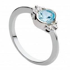 Кольцо из белого золота с голубым топазом и бриллиантами Роксана