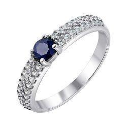 Серебряное кольцо с сапфиром и цирконами 000011690
