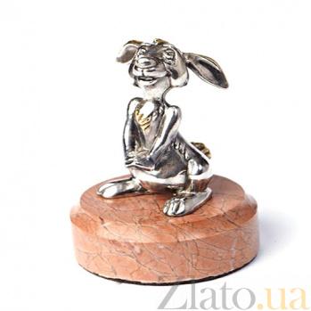 Серебряная статуэтка с позолотой Зайчонок 1165
