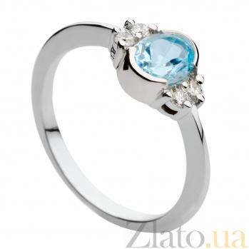 Кольцо из белого золота с голубым топазом и бриллиантами Роксана 000030317