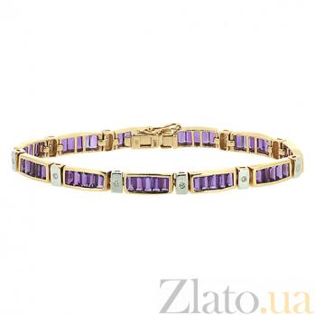 Золотой браслет с бриллиантами и аметистами Стронг ZMX--BCAm-6104_K
