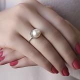 Серебряное кольцо Марина с жемчугом и фианитами