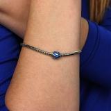 Серебряный шарм Ромбический узор с голубой эмалью