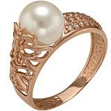 Золотое кольцо Летний полдень с жемчугом и фианитами