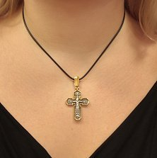 Серебряный крестик Иисус Христос Сын Божий с позолотой и чернением