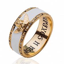 Мужское обручальное кольцо Ангел хранитель с эмалью и бриллиантами