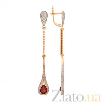 Удлиненные серьги Лиолетта в красном золоте с гранатом VLT--ТТТ2442