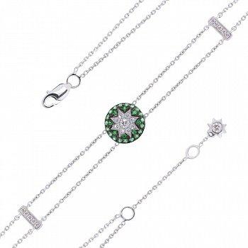 Браслет из белого золота Счастливая звезда с лейкосапфиром, бриллиантами и цаворитами 000082065