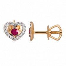 Золотые серьги с рубинами и бриллиантами Сердце