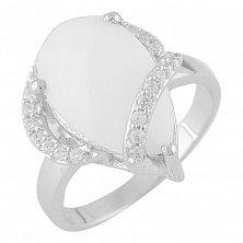 Серебряное кольцо Люсьена с белым агатом и фианитами