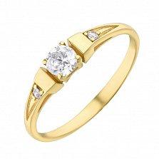 Золотое кольцо Илона в желтом цвете с фианитами