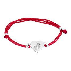 Шелковый браслет с серебряной вставкой Сердце стопы